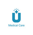 medical care logo with u alphabet vector image vector image