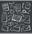 office paper and magnifying glass icons vector image vector image