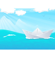 Paper boat in water vector image