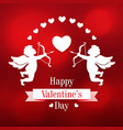 paper cupids and hearts on a red background vector image vector image