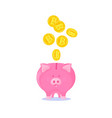 pink piggy bank with falling gold bitcoins vector image