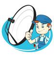satellite dish installation vector image vector image