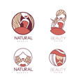 set linear emblems for beauty center or vector image vector image