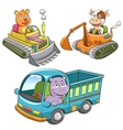 set of construction vehicle animal cartoon vector image