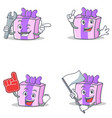 set of gift character with mechanic foam finger vector image vector image