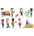 set with people traveling vector image