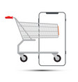 shopping cart with smartphone outline isolated vector image vector image