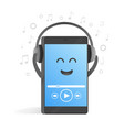 smartphone concept of listening to music on vector image vector image