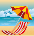 summer enjoy with beach chair vector image