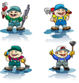 The plumber icon set vector image