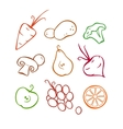Vegetables and fruits Part 1 Colored outlines vector image
