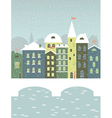 Winter town with a bridge vector image