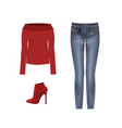 women set sweater pants and boots vector image vector image