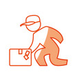 worker deliver silhouette vector image vector image