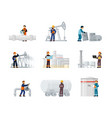 workers oil and gas factories set oil worker vector image vector image