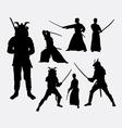 Samurai male japanese warrior silhouettes vector image