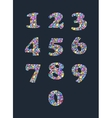 Colorful diamond numbers with gemstones vector image