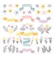 floral decorative elements flowers vector image