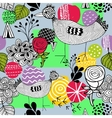 Seamless spring pattern with doodle farm birds vector image