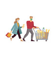a young couple with a shopping cart buys food vector image vector image