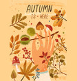 autumn is here flat greeting card template vector image vector image