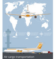 aviation poster set with airplane in airport vector image vector image