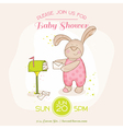 baby shower or arrival card - with bunny vector image vector image
