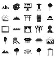 beautiful view icons set simple style vector image vector image