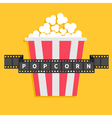 Big Popcorn Film strip ribbon line with text Red vector image vector image