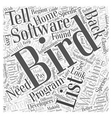 Bird Watching List Software Word Cloud Concept vector image vector image