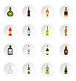bottle forms icons set in flat style vector image vector image