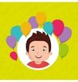 boy balloons party cartoon vector image