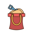 bucket sand shovel play toy beach vector image