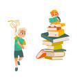 cartoon boys reading book set vector image vector image
