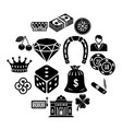 casino icons set simple style vector image vector image