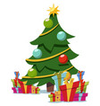 christmas cartoon tree decorated stack gift box vector image vector image