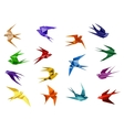 Colorful origami paper swallow birds vector image vector image