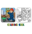 Coloring book of funny construction worker vector image vector image
