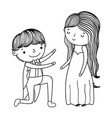 couple marriage cute cartoon in black and white vector image