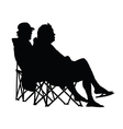 couple sitting and enjoying silhouette vector image vector image