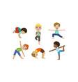 cute boys and girls kids doing gymnastics and yoga vector image vector image