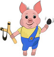 cute bully dirty pig in cartoon style funny vector image