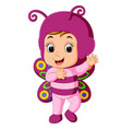 cute girl cartoon wearing butterfly costume vector image vector image