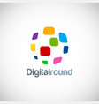 digital round technology logo vector image vector image