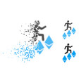dissolved dot halftone person climb ethereum icon vector image vector image