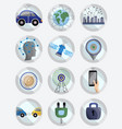 driver assistance system icon set self-driving vector image