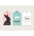 Easter tags labels with cute bunny and flowers vector image vector image