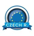 EU flag button with Czech ribbon vector image