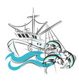 fishing boat with catch vector image