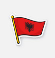 flag albania with coat arms on flagstaff vector image